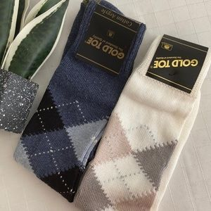 Gold toe argyle socks blue and cream tan